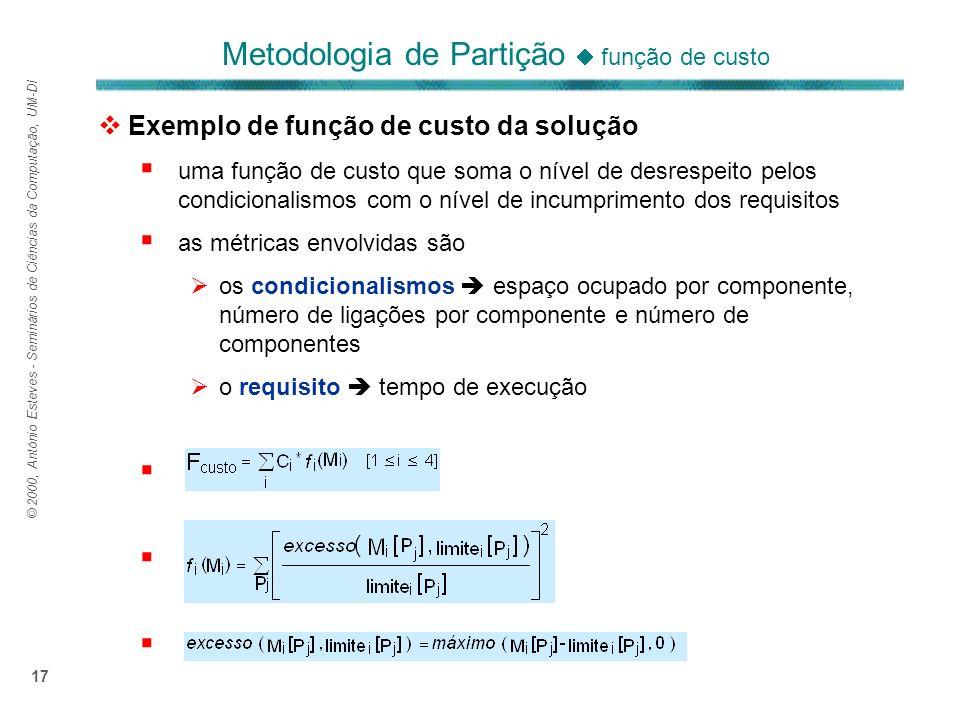 © 2000, António Esteves - Seminários de Ciências da Computação, UM-DI 17 Exemplo de função de custo da solução uma função de custo que soma o nível de