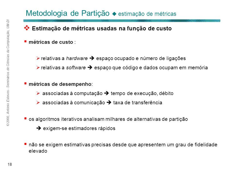 © 2000, António Esteves - Seminários de Ciências da Computação, UM-DI 18 Metodologia de Partição estimação de métricas métricas de custo : relativas a