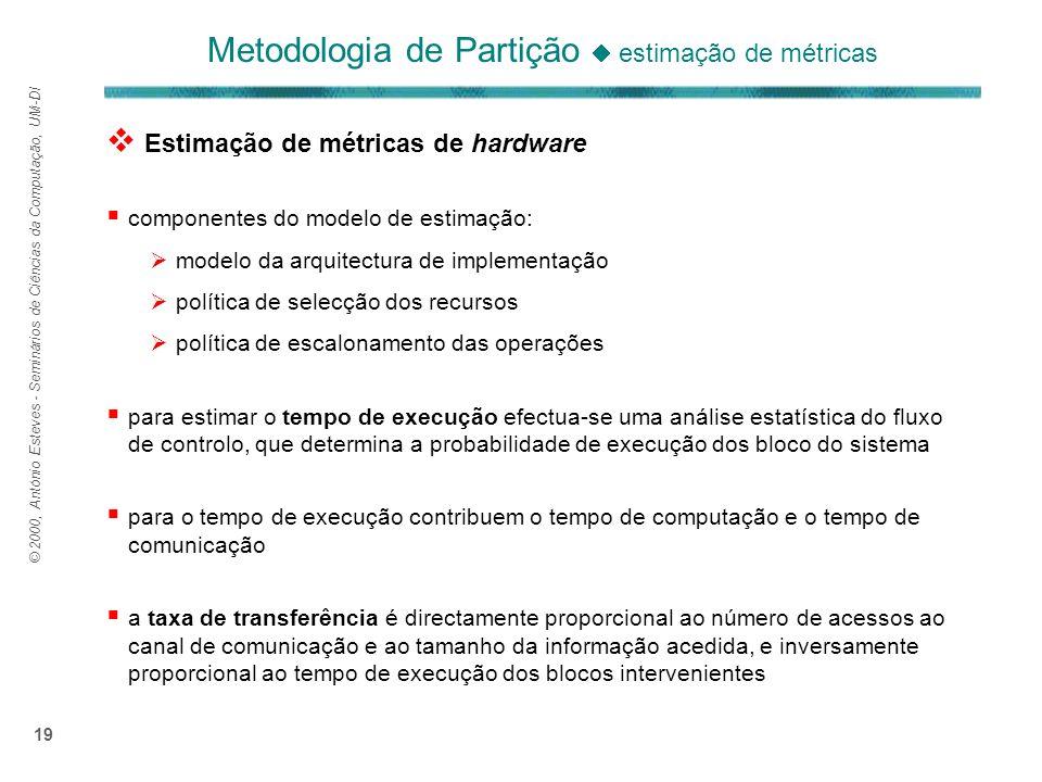 © 2000, António Esteves - Seminários de Ciências da Computação, UM-DI 19 Metodologia de Partição estimação de métricas Estimação de métricas de hardwa