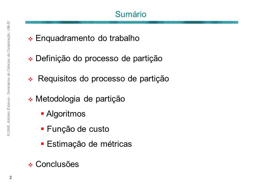 © 2000, António Esteves - Seminários de Ciências da Computação, UM-DI 2 Enquadramento do trabalho Definição do processo de partição Requisitos do processo de partição Metodologia de partição Algoritmos Função de custo Estimação de métricas Conclusões Sumário