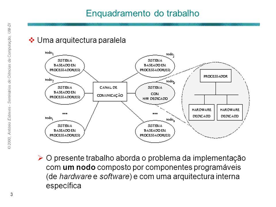 © 2000, António Esteves - Seminários de Ciências da Computação, UM-DI 3 Uma arquitectura paralela O presente trabalho aborda o problema da implementação com um nodo composto por componentes programáveis (de hardware e software) e com uma arquitectura interna específica Enquadramento do trabalho