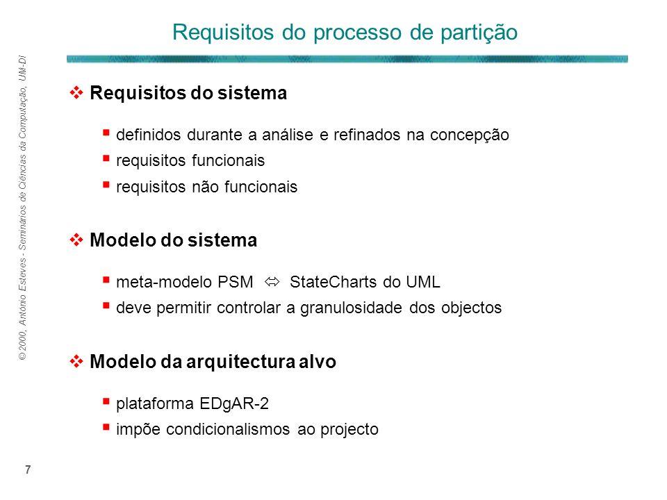 © 2000, António Esteves - Seminários de Ciências da Computação, UM-DI 7 Requisitos do sistema definidos durante a análise e refinados na concepção requisitos funcionais requisitos não funcionais Modelo do sistema meta-modelo PSM StateCharts do UML deve permitir controlar a granulosidade dos objectos Modelo da arquitectura alvo plataforma EDgAR-2 impõe condicionalismos ao projecto Requisitos do processo de partição