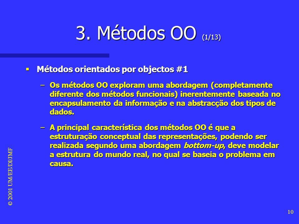 © 2001 UM/EE/DI/JMF 9 2. Métodos Funcionais (5/5) Métodos funcionais #4 Métodos funcionais #4 –A abordagem dos métodos funcionais tem, no entanto, dua