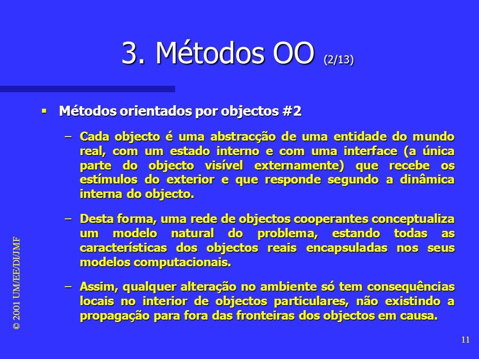 © 2001 UM/EE/DI/JMF 10 3. Métodos OO (1/13) Métodos orientados por objectos #1 Métodos orientados por objectos #1 –Os métodos OO exploram uma abordage