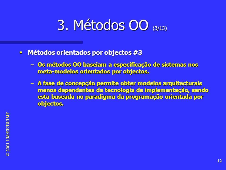 © 2001 UM/EE/DI/JMF 11 3. Métodos OO (2/13) Métodos orientados por objectos #2 Métodos orientados por objectos #2 –Cada objecto é uma abstracção de um