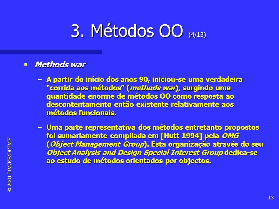 © 2001 UM/EE/DI/JMF 12 3. Métodos OO (3/13) Métodos orientados por objectos #3 Métodos orientados por objectos #3 –Os métodos OO baseiam a especificaç