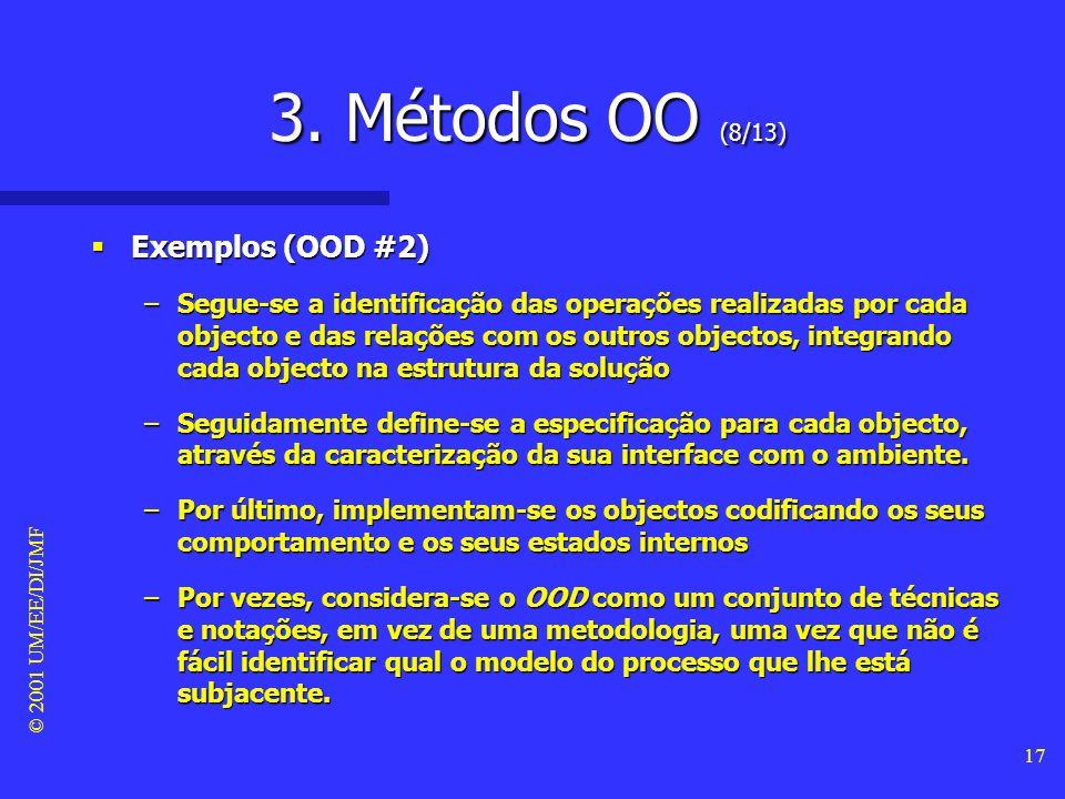 © 2001 UM/EE/DI/JMF 16 3. Métodos OO (7/13) Exemplos (OOD #1) Exemplos (OOD #1) –O método object-oriented design, desenvolvido por Grady Booch na Rati