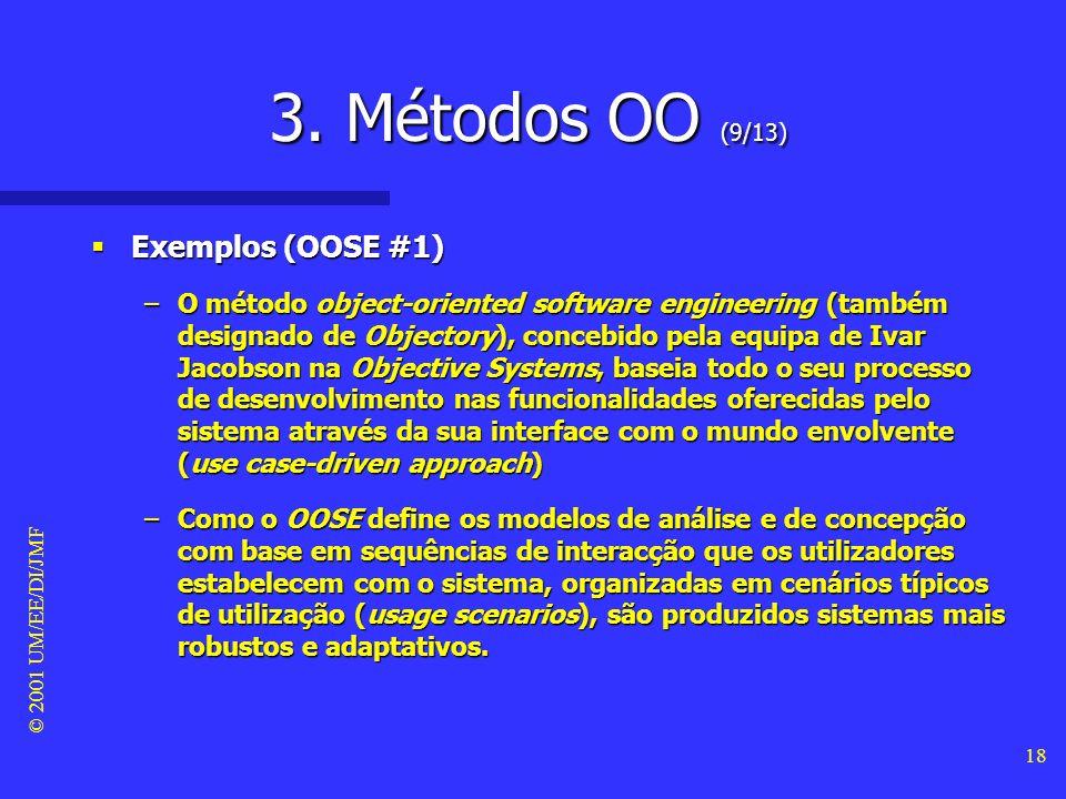 © 2001 UM/EE/DI/JMF 17 3. Métodos OO (8/13) Exemplos (OOD #2) Exemplos (OOD #2) –Segue-se a identificação das operações realizadas por cada objecto e