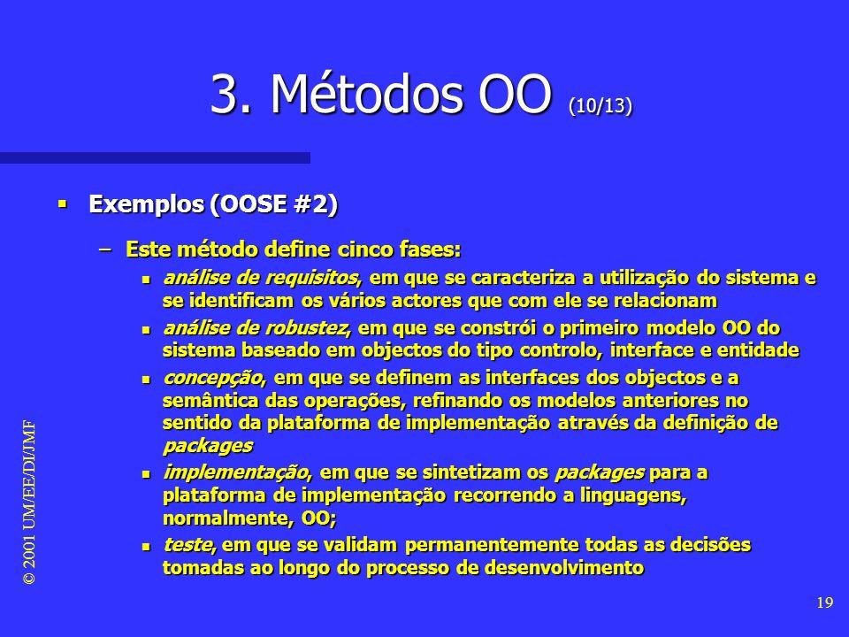 © 2001 UM/EE/DI/JMF 18 3. Métodos OO (9/13) Exemplos (OOSE #1) Exemplos (OOSE #1) –O método object-oriented software engineering (também designado de