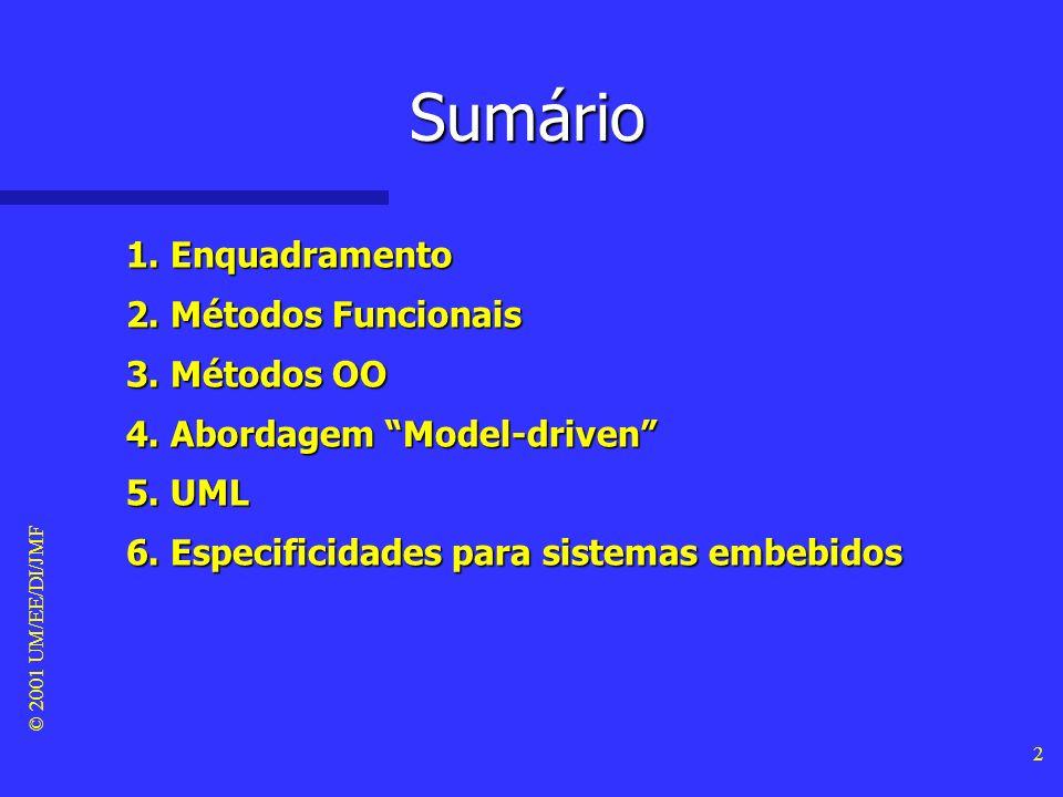 © 2001 UM/EE/DI/JMF 2 Sumário 1.Enquadramento 2. Métodos Funcionais 3.