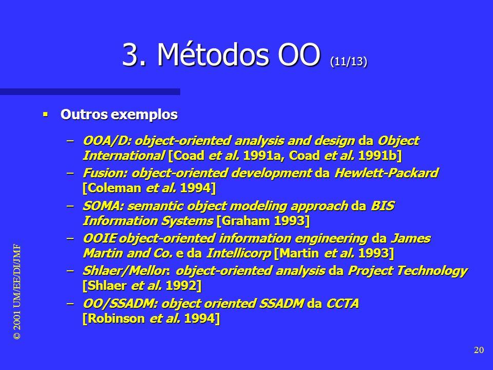 © 2001 UM/EE/DI/JMF 19 3. Métodos OO (10/13) Exemplos (OOSE #2) Exemplos (OOSE #2) –Este método define cinco fases: n análise de requisitos, em que se