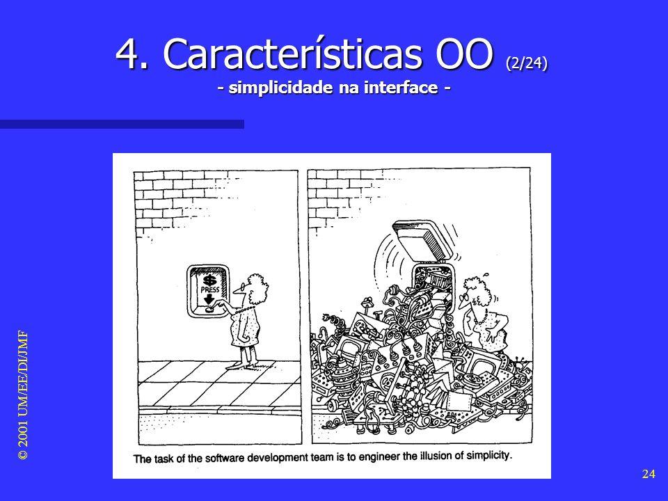 © 2001 UM/EE/DI/JMF 23 4. Características OO (1/24) Principais conceitos associados aos objectos Principais conceitos associados aos objectos –Identid