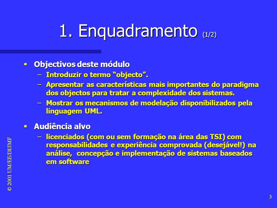 © 2001 UM/EE/DI/JMF 73 6. UML (16/32) Diagramas de objectos Diagramas de objectos