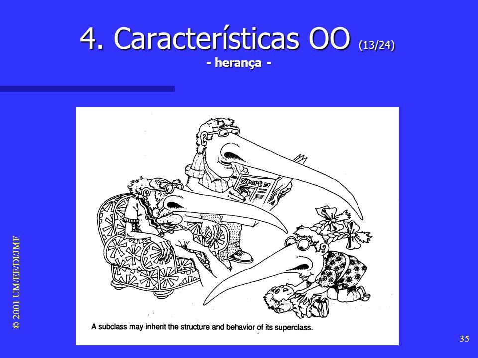 © 2001 UM/EE/DI/JMF 34 4. Características OO (12/24) Classificação Classificação –A classificação significa que os objectos com a mesma estrutura de d