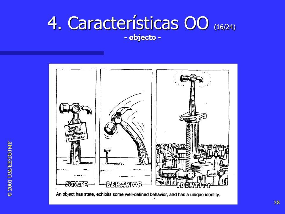 © 2001 UM/EE/DI/JMF 37 4. Características OO (15/24) Herança e hierarquia Herança e hierarquia –A herança é definida como o mecanismo que facilita a c