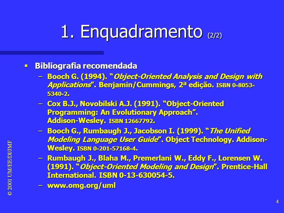 © 2001 UM/EE/DI/JMF 3 1. Enquadramento (1/2) Objectivos deste módulo Objectivos deste módulo –Introduzir o termo objecto. –Apresentar as característic