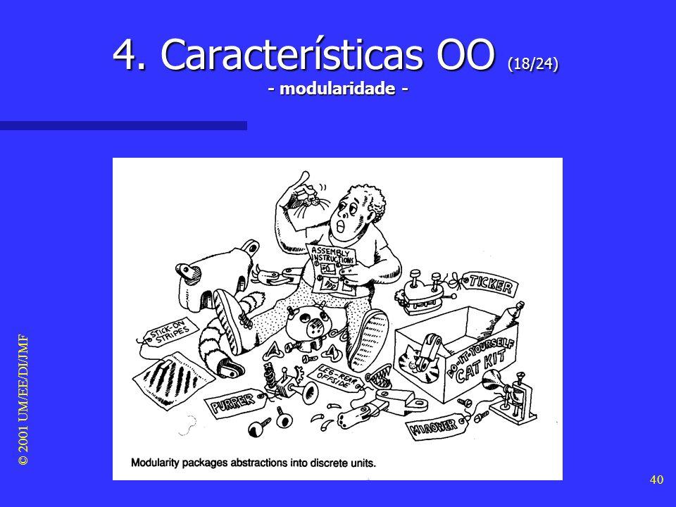 © 2001 UM/EE/DI/JMF 39 4. Características OO (17/24) Identidade Identidade –A identidade significa que os dados do sistema podem ser quantificados em