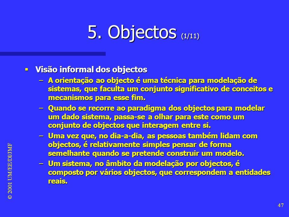 © 2001 UM/EE/DI/JMF 46 4. Características OO (24/24) Polimorfismo Polimorfismo –O polimorfismo significa que a mesma operação pode apresentar comporta