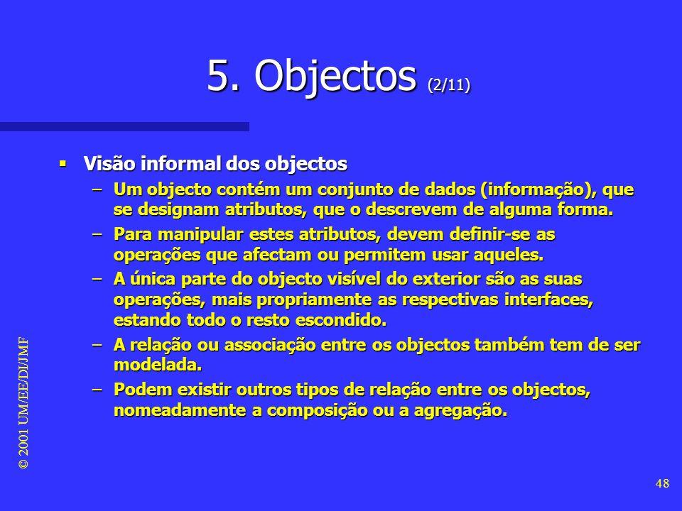 © 2001 UM/EE/DI/JMF 47 5. Objectos (1/11) Visão informal dos objectos Visão informal dos objectos –A orientação ao objecto é uma técnica para modelaçã