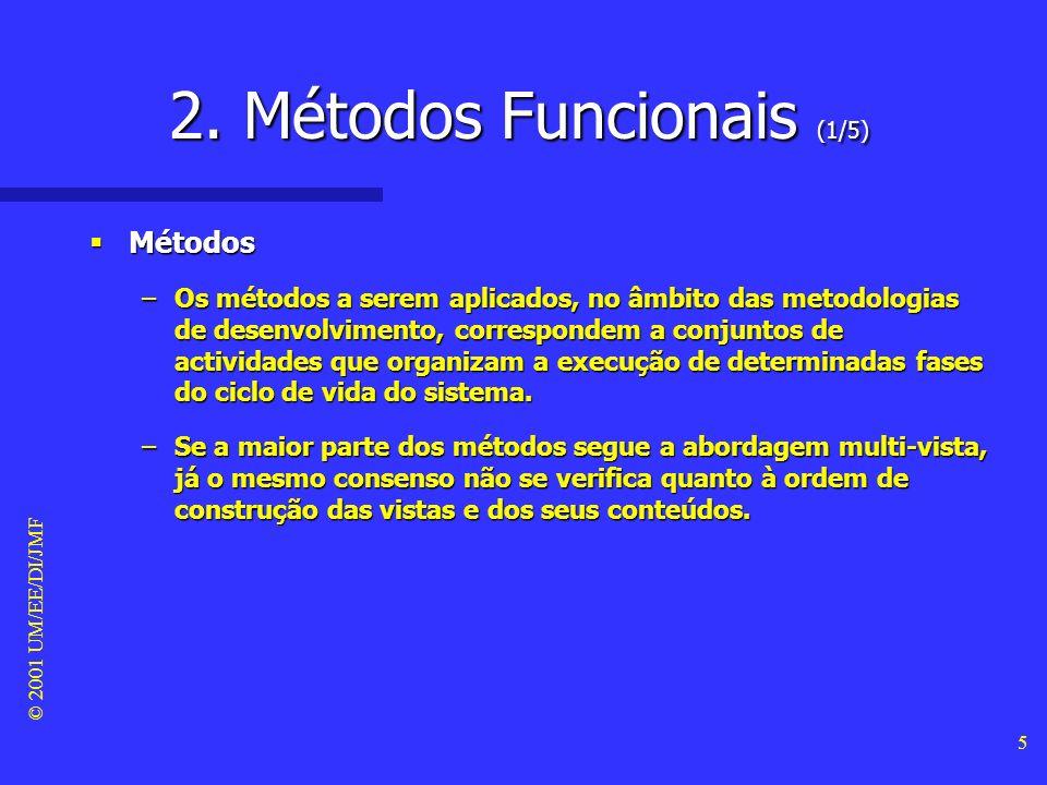 © 2001 UM/EE/DI/JMF 4 1. Enquadramento (2/2) Bibliografia recomendada Bibliografia recomendada –Booch G. (1994). Object-Oriented Analysis and Design w