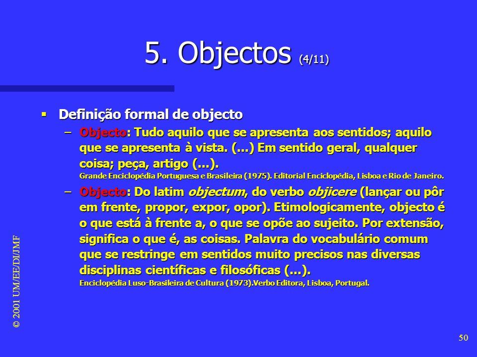 © 2001 UM/EE/DI/JMF 49 5. Objectos (3/11) Visão informal dos objectos Visão informal dos objectos –O comportamento temporal do modelo dos objectos é c