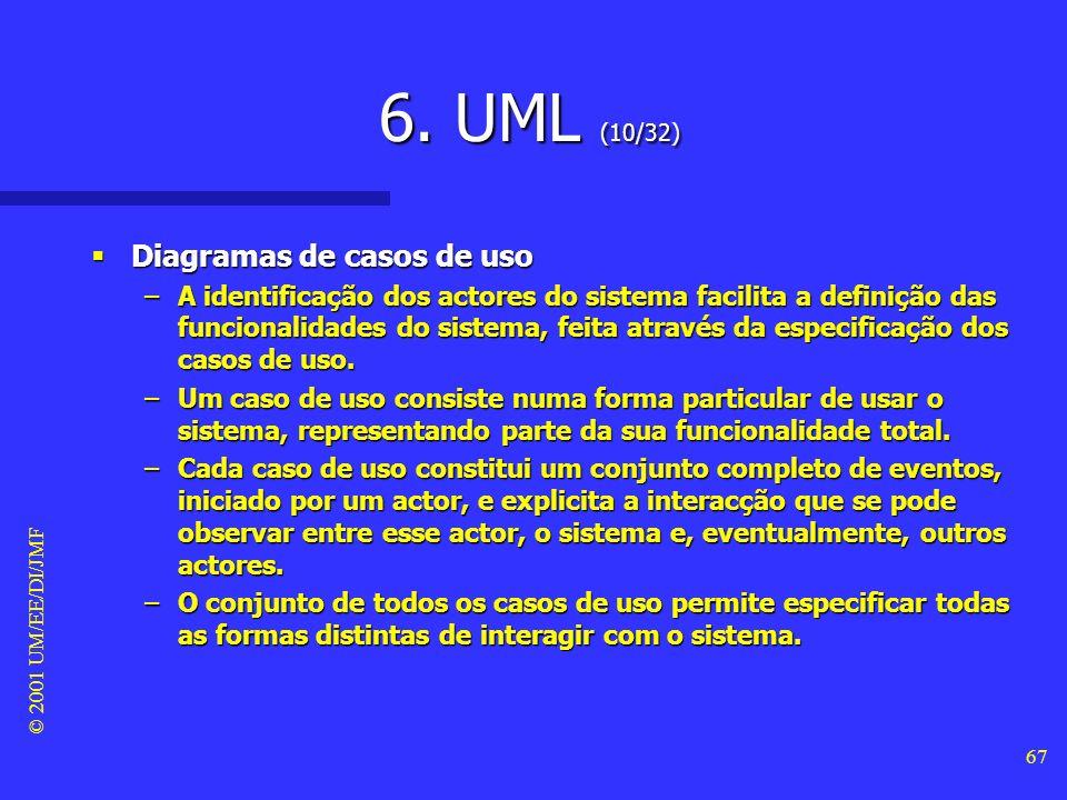 © 2001 UM/EE/DI/JMF 66 6. UML (9/32) Diagramas de casos de uso Diagramas de casos de uso –Um actor representa um papel que um dado utilizador pode ter
