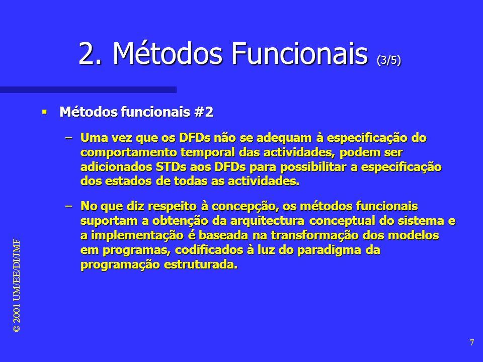 © 2001 UM/EE/DI/JMF 6 2. Métodos Funcionais (2/5) Métodos funcionais #1 Métodos funcionais #1 –Os métodos funcionais baseiam-se fundamentalmente na mo