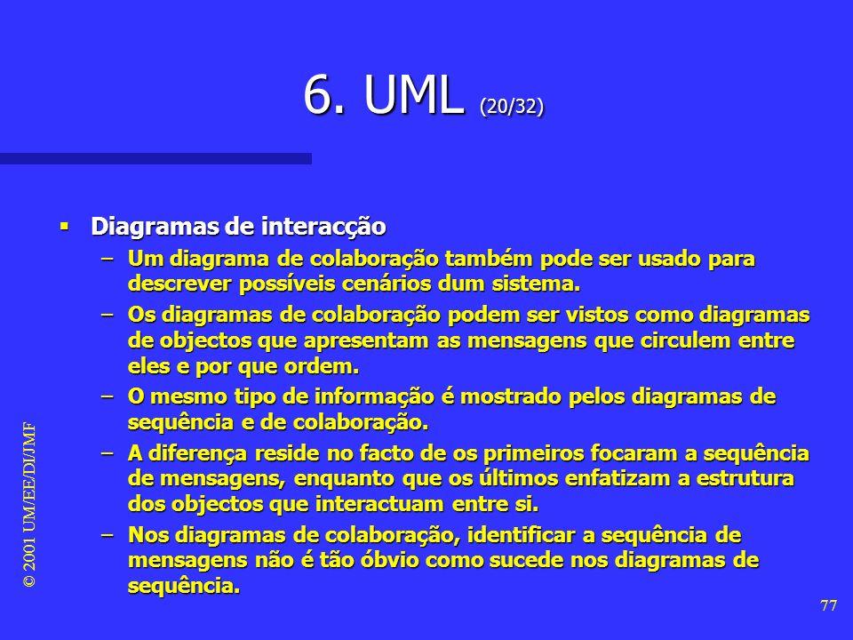 © 2001 UM/EE/DI/JMF 76 6. UML (19/32) Diagramas de interacção Diagramas de interacção –diagrama de sequência