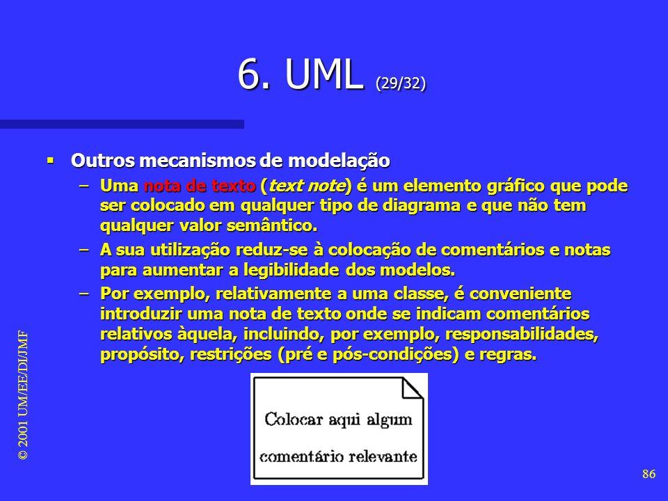 © 2001 UM/EE/DI/JMF 85 6. UML (28/32) Outros mecanismos de modelação Outros mecanismos de modelação –A definição de UML baseou-se, em forte medida, na