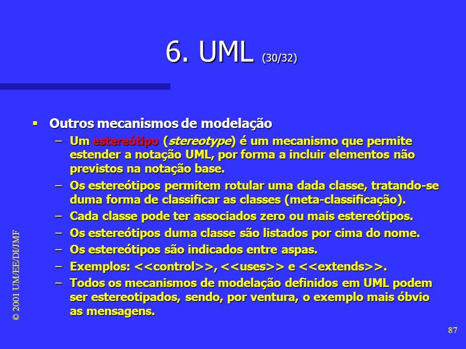 © 2001 UM/EE/DI/JMF 86 6. UML (29/32) Outros mecanismos de modelação Outros mecanismos de modelação –Uma nota de texto (text note) é um elemento gráfi