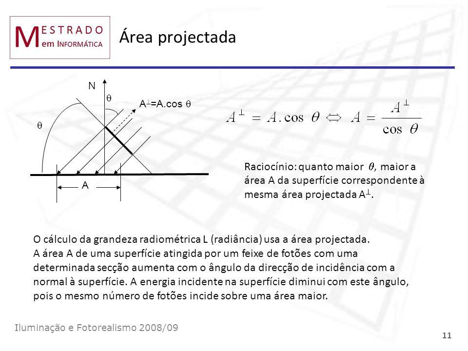 Área projectada Iluminação e Fotorealismo 2008/09 11 A N A =A.cos Raciocínio: quanto maior, maior a área A da superfície correspondente à mesma área p