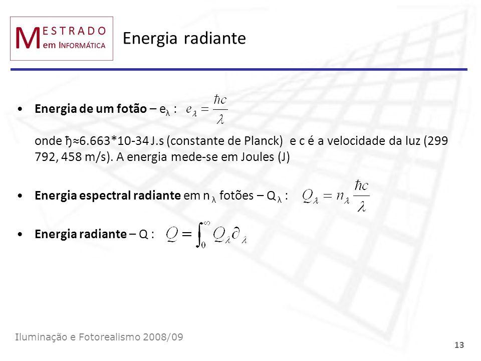 Energia radiante Energia de um fotão – e λ : onde ђ6.663*10-34 J.s (constante de Planck) e c é a velocidade da luz (299 792, 458 m/s). A energia mede-