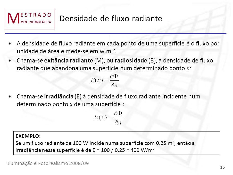 Densidade de fluxo radiante A densidade de fluxo radiante em cada ponto de uma superfície é o fluxo por unidade de área e mede-se em w.m -2. Chama-se