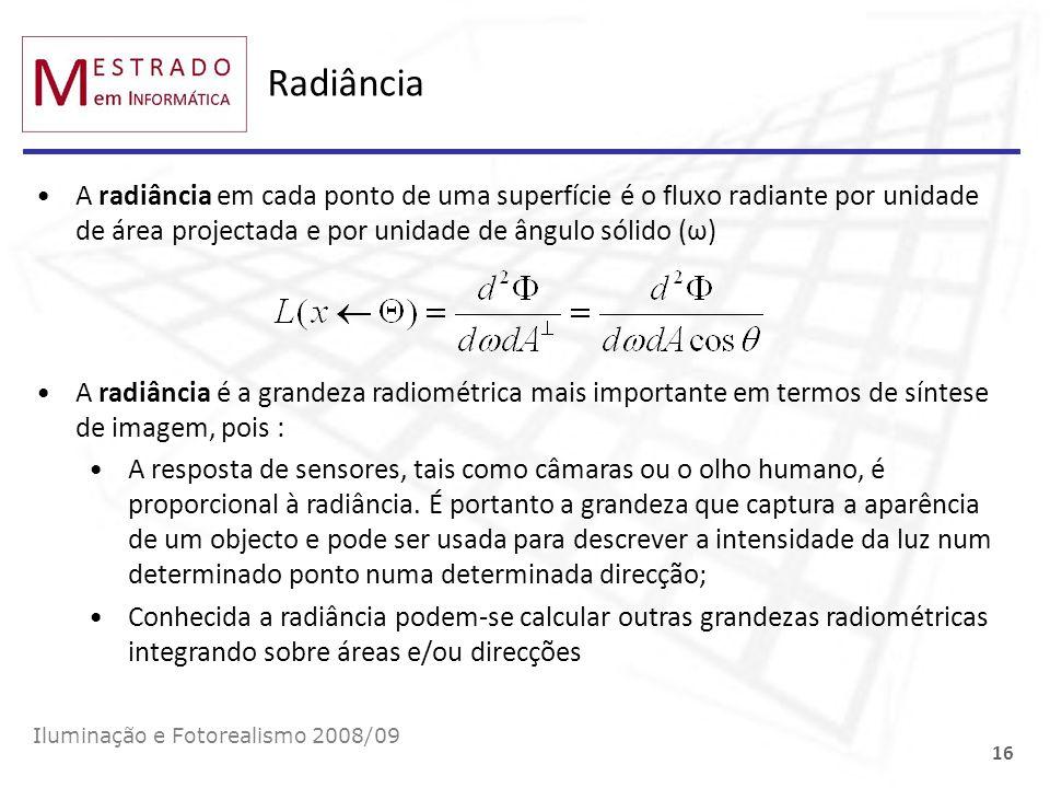 Radiância A radiância em cada ponto de uma superfície é o fluxo radiante por unidade de área projectada e por unidade de ângulo sólido (ω) Iluminação
