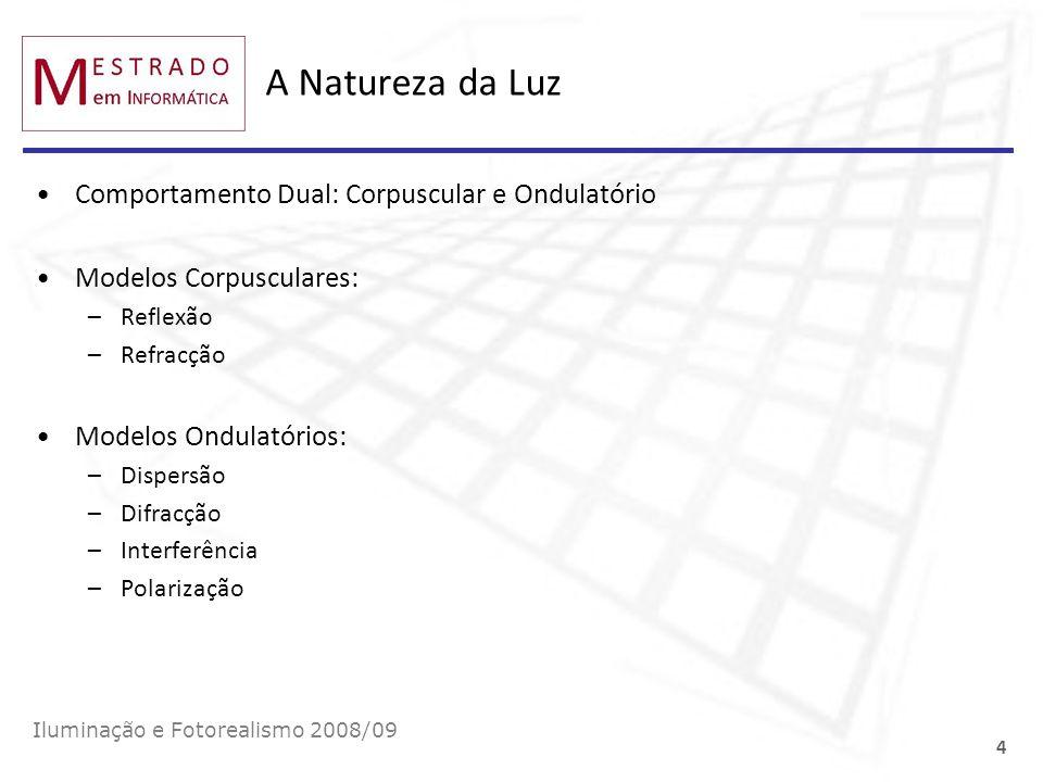 A Natureza da Luz Comportamento Dual: Corpuscular e Ondulatório Modelos Corpusculares: –Reflexão –Refracção Modelos Ondulatórios: –Dispersão –Difracçã