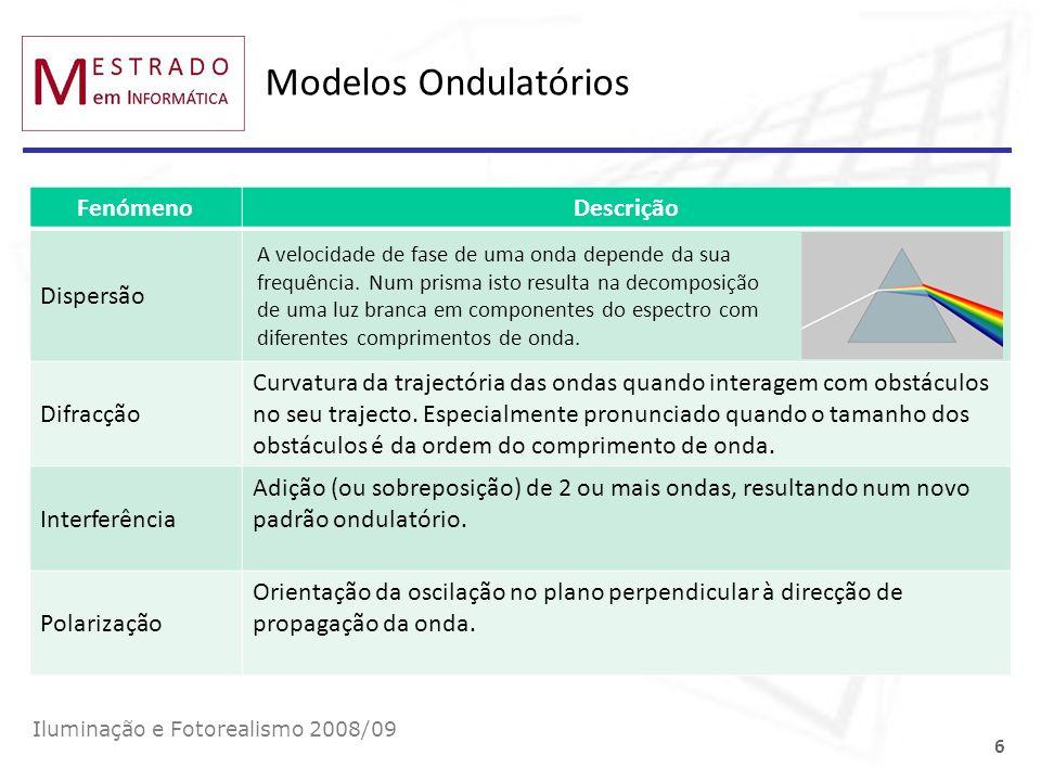 Radiância Cálculo da irradiância (radiosidade) dada a radiância incidente (emitida): Iluminação e Fotorealismo 2008/09 17 Cálculo do fluxo dada a radiância: