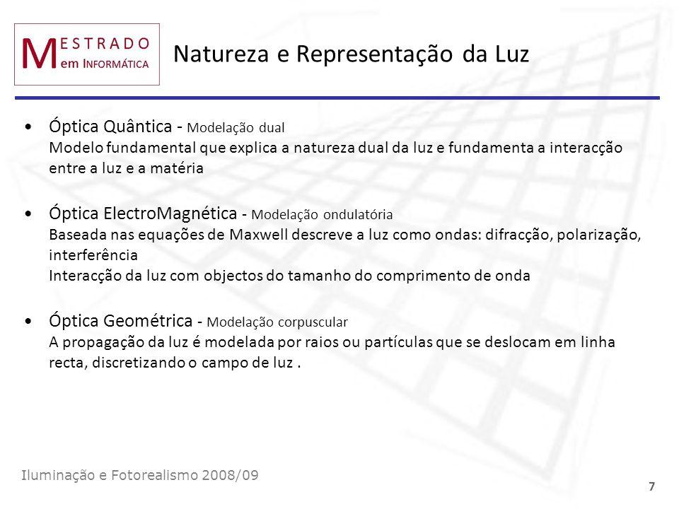 Natureza e Representação da Luz Iluminação e Fotorealismo 2008/09 7 Óptica Quântica - Modelação dual Modelo fundamental que explica a natureza dual da