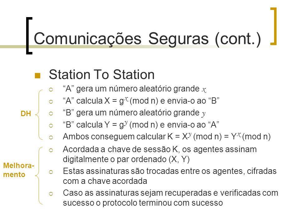 Comunicações Seguras (cont.) Station To Station A gera um número aleatório grande x A calcula X = g x (mod n) e envia-o ao B B gera um número aleatóri
