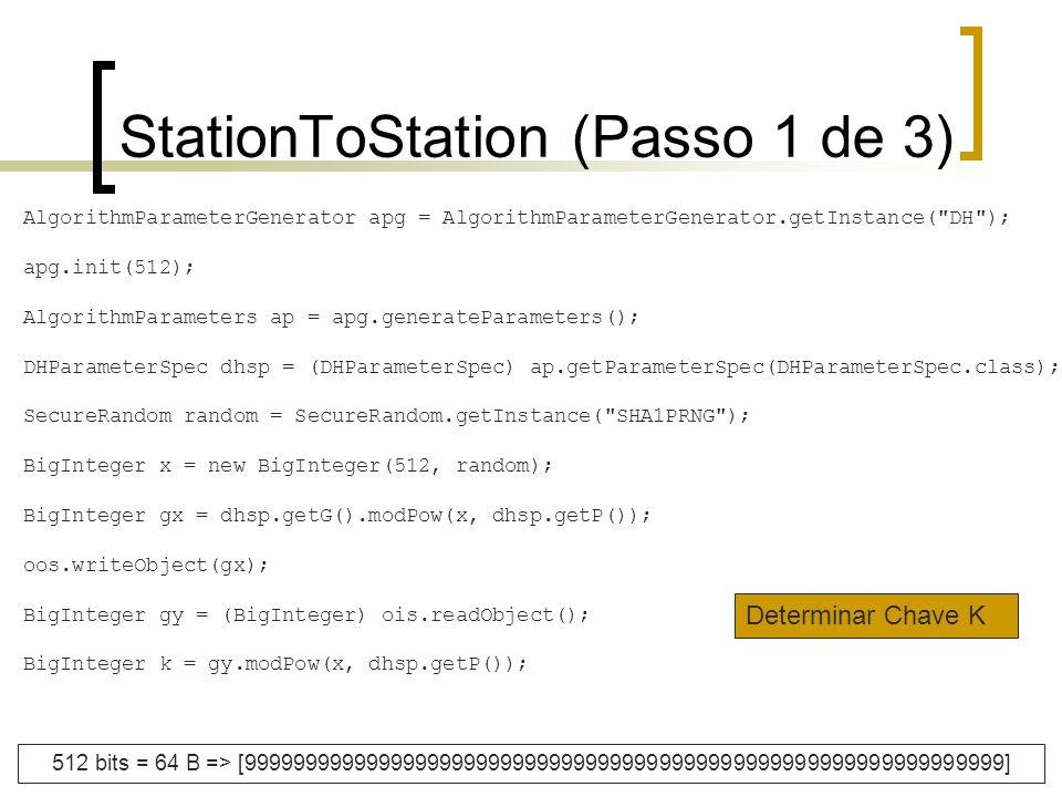 StationToStation (Passo 1 de 3) AlgorithmParameterGenerator apg = AlgorithmParameterGenerator.getInstance(