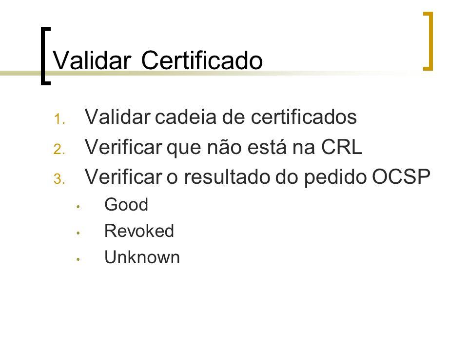 Validar Certificado 1. Validar cadeia de certificados 2. Verificar que não está na CRL 3. Verificar o resultado do pedido OCSP Good Revoked Unknown