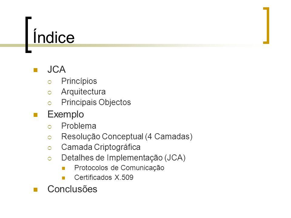 Índice JCA Princípios Arquitectura Principais Objectos Exemplo Problema Resolução Conceptual (4 Camadas) Camada Criptográfica Detalhes de Implementaçã