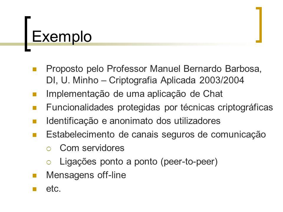 Exemplo Proposto pelo Professor Manuel Bernardo Barbosa, DI, U. Minho – Criptografia Aplicada 2003/2004 Implementação de uma aplicação de Chat Funcion