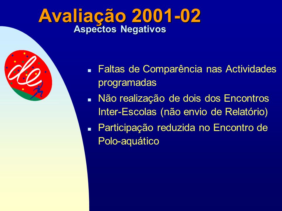 Passar para a primeira página Avaliação 2001-02 Aspectos Negativos n Faltas de Comparência nas Actividades programadas n Não realização de dois dos Encontros Inter-Escolas (não envio de Relatório) n Participação reduzida no Encontro de Polo-aquático