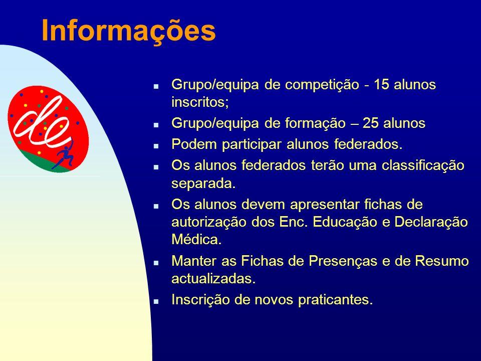 Passar para a primeira página Informações n Grupo/equipa de competição - 15 alunos inscritos; n Grupo/equipa de formação – 25 alunos n Podem participar alunos federados.