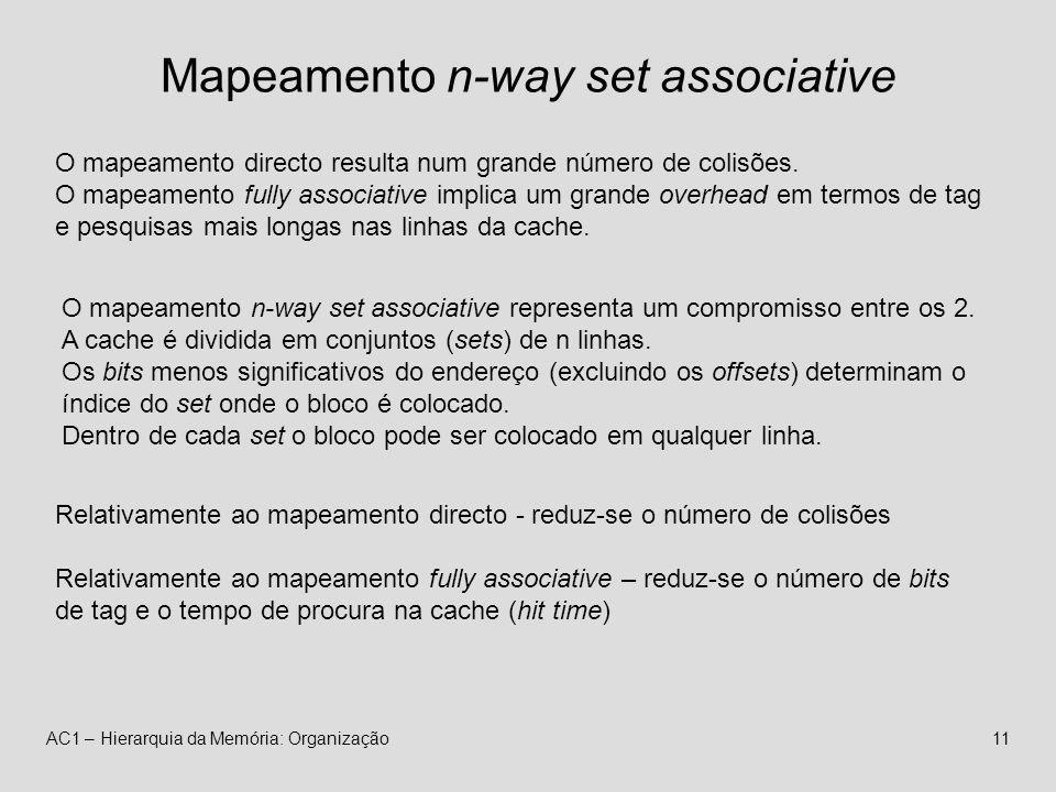 AC1 – Hierarquia da Memória: Organização11 Mapeamento n-way set associative O mapeamento directo resulta num grande número de colisões.
