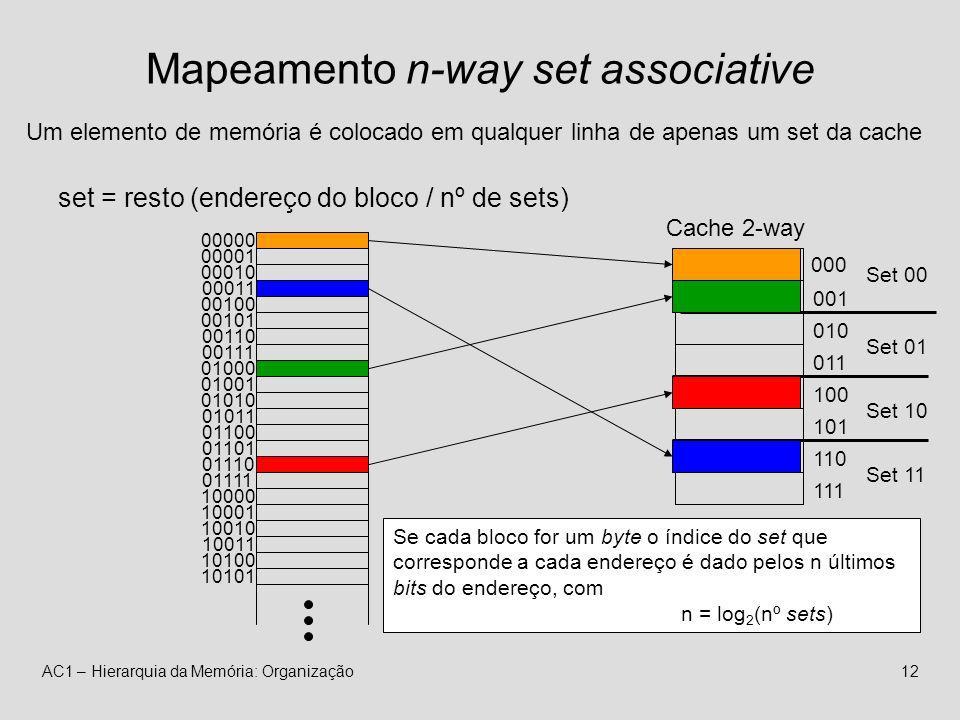 AC1 – Hierarquia da Memória: Organização12 Mapeamento n-way set associative Cache 2-way 000 101 110 111 010 011 100 001 Um elemento de memória é colocado em qualquer linha de apenas um set da cache set = resto (endereço do bloco / nº de sets) 00000 00001 00010 00011 00100 00101 00110 00111 01000 01001 01010 01011 01100 01101 01110 01111 10000 10001 10010 10011 10100 10101 Se cada bloco for um byte o índice do set que corresponde a cada endereço é dado pelos n últimos bits do endereço, com n = log 2 (nº sets) Set 00 Set 01 Set 10 Set 11