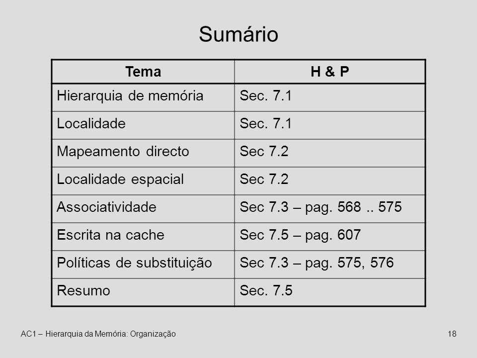 AC1 – Hierarquia da Memória: Organização18 Sumário TemaH & P Hierarquia de memóriaSec.