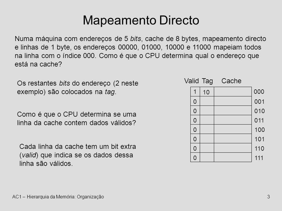 AC1 – Hierarquia da Memória: Organização3 Mapeamento Directo Cache 000 101 110 111 010 011 100 001 Numa máquina com endereços de 5 bits, cache de 8 bytes, mapeamento directo e linhas de 1 byte, os endereços 00000, 01000, 10000 e 11000 mapeiam todos na linha com o índice 000.