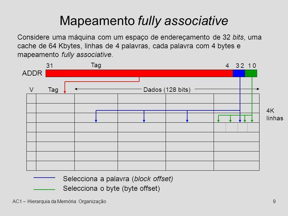 AC1 – Hierarquia da Memória: Organização9 Mapeamento fully associative 4K linhas VTagDados (128 bits) ADDR 431 Tag 32 Selecciona a palavra (block offset) 10 Selecciona o byte (byte offset) Considere uma máquina com um espaço de endereçamento de 32 bits, uma cache de 64 Kbytes, linhas de 4 palavras, cada palavra com 4 bytes e mapeamento fully associative.
