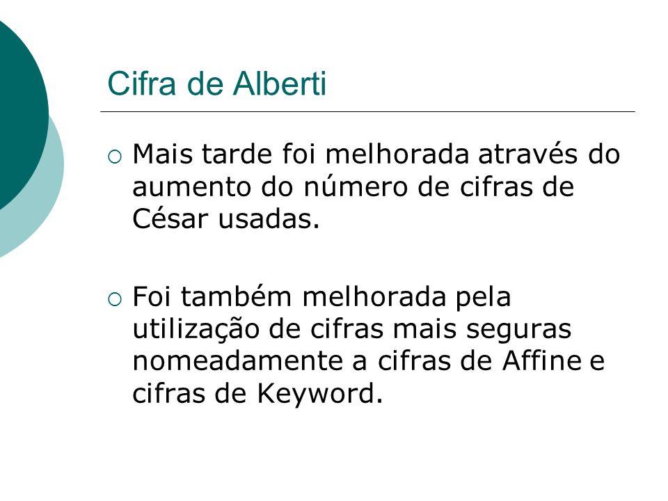 Cifra de Alberti Mais tarde foi melhorada através do aumento do número de cifras de César usadas. Foi também melhorada pela utilização de cifras mais